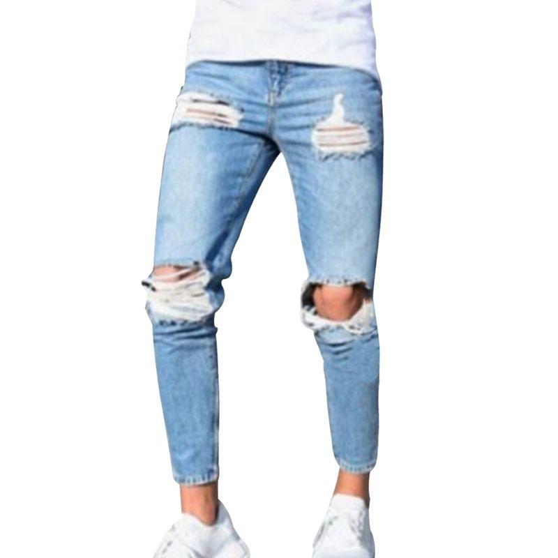 7cd8f7fbdc Compre 2018 Hombres Casuales Pantalones Pitillo Jeans Cintura Alta Sólido  Denim Lápiz Jeans Apenado Rotos Agujeros De Rodilla Para Hombres Jóvenes A   38.27 ...