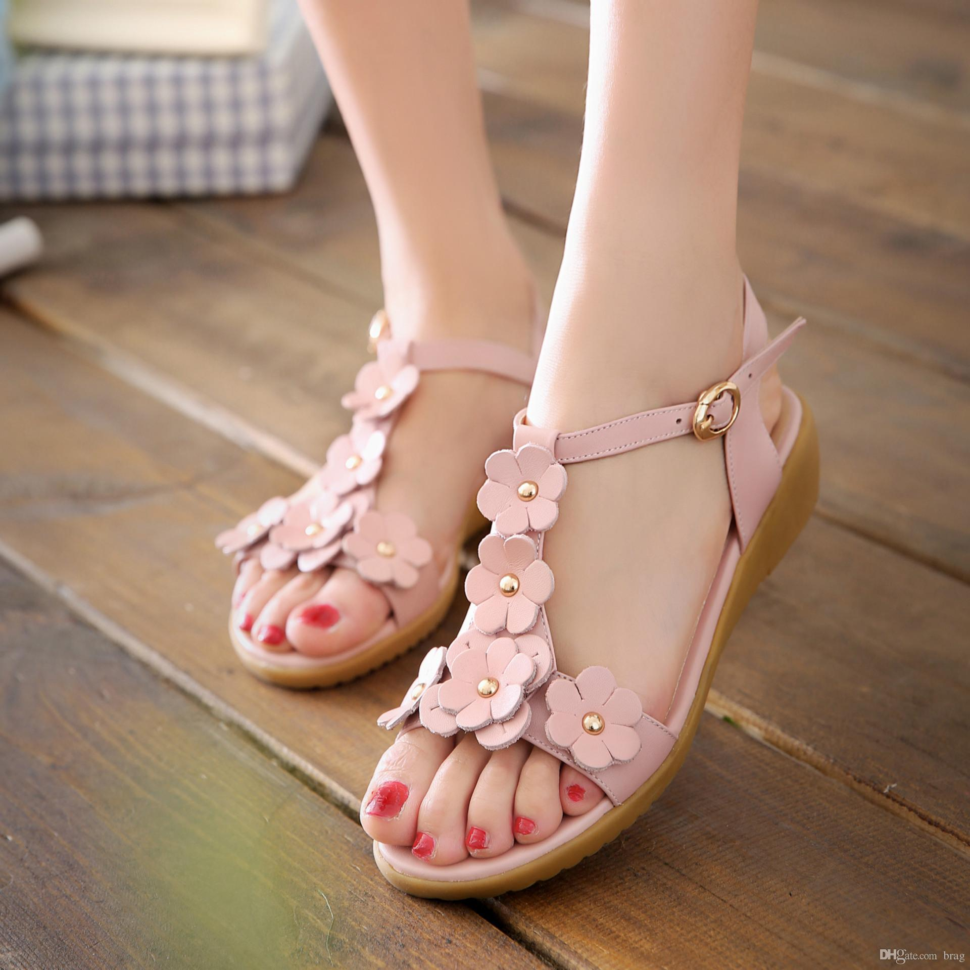 902c0add593 Floral Summer Sandals For Women Flowers Girl s Shoes Genuine Leather ...