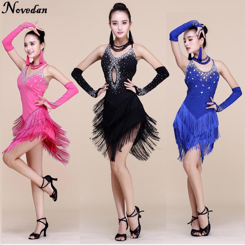 ba9bf245932 Compre Nuevos Vestidos De Baile Latino De Flecos Mujeres / Niñas Faldas  Largas De Baile Moderno / Tango / Rumba / Salsa / Vestidos Latinos Disfraz  Para ...
