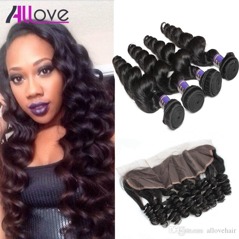 Allove Best 10A Brazilian Hair Bundles With Closure Loose Wave 4Bundles with Lace Frontal Closure Peruvian human hair Extensions Wholesale