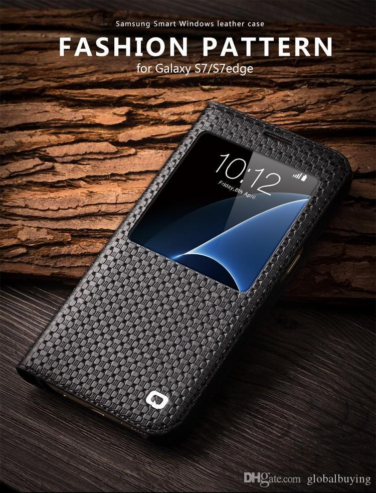 Smart view window case for Samsung Galaxy S7 edge leathe flip cover for  samsung galaxy S7 patterned phone case