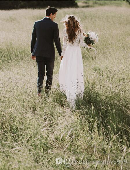 البوهيمي الرباط فساتين الزفاف مع البلد طول الكلمة طويلة الأكمام ألف خط الرباط زين الشيفون بوهو أثواب الزفاف رخيصة
