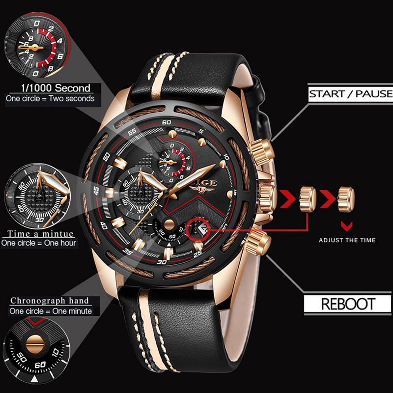 47f574f50d6 Compre Relogio LIGE Mens Relógios Top Marca De Luxo Moda Militar Relógio De  Quartzo Dos Homens De Couro À Prova D  Água Esporte Relógio Relogio  Masculino De ...