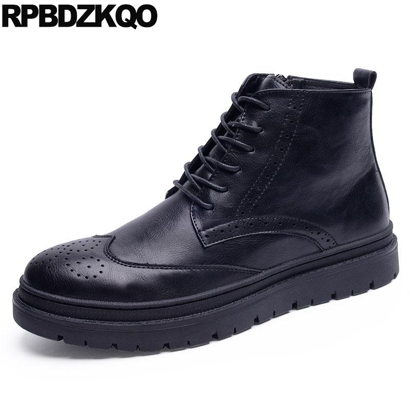 e7ceeeb42c3e1 Wingtip High Sole Top Lace Up Fall Shoes Men Booties Zipper Ankle Male Boots  Platform British Style Black Brogue Comfortable Suede Boots Men Boots From  Yera ...