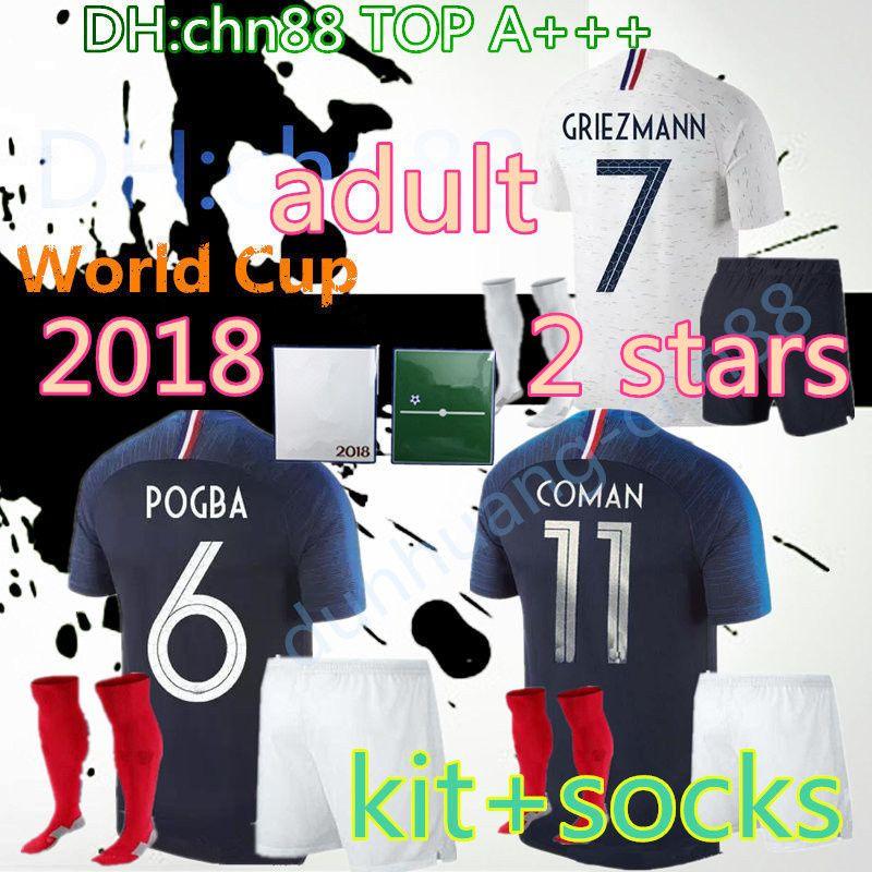 49e4269c5 2 Stars 2018 World Cup Adult Kit + Socks Adult Soccer Jersey 18 19 ...