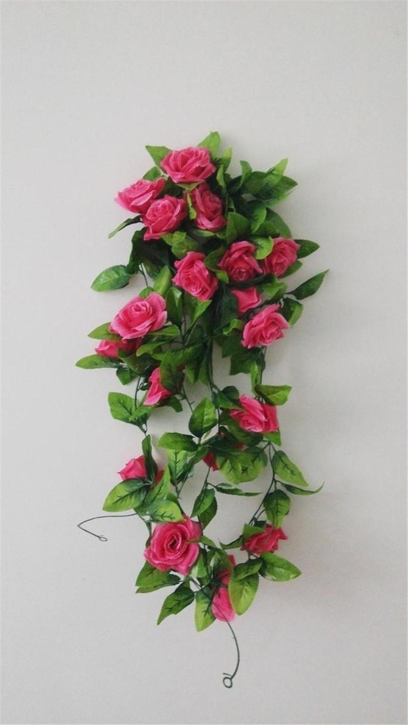 Yapay Bitkiler Yeşil Yapraklar Vine Simülasyon Kamışı Süsleme Çiçekler Garland Ev Duvar Parti Dekorasyon Için Gül Vines 2.4 m c409
