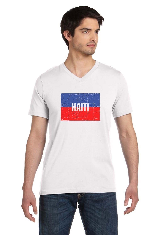 Haiti Flag Vintage Retro Haitian Flag V Neck T Shirt Haiti Pride