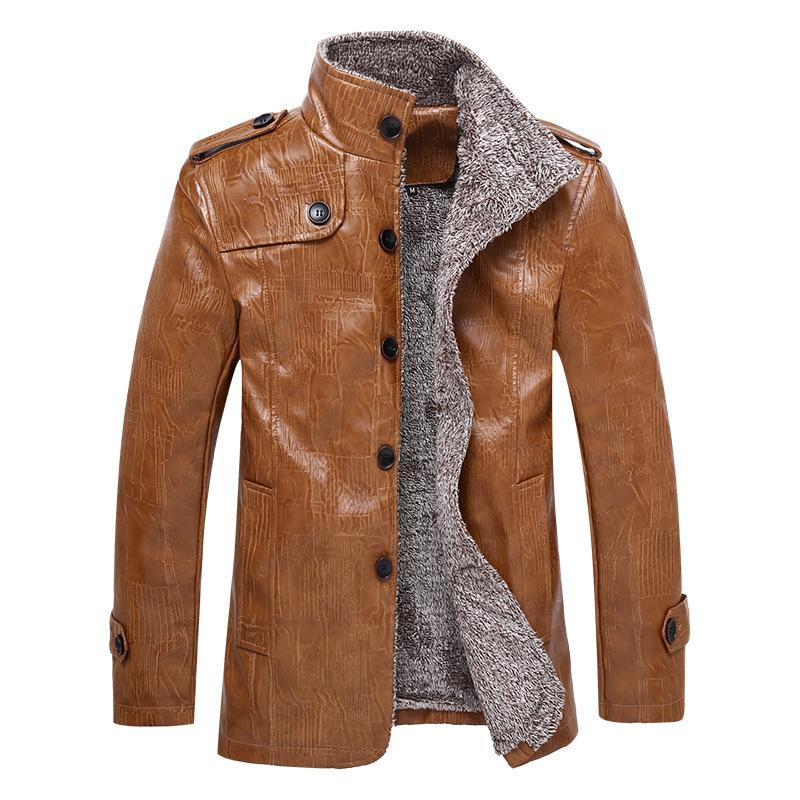 1e564f319 2019 Full Length Leather Jacket With Fur And Fur In One Body