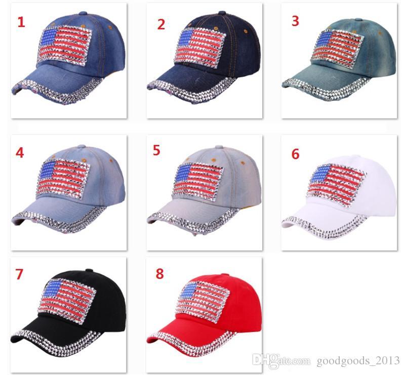 98c013c8c60 Women Denim Baseball Caps Summer 4th Of July American Flag Hat Cowboy  Fashion Rhinestone Denim Cap 6 Panels Snapback Leisure Sun Hat B1559 Black  Baseball ...