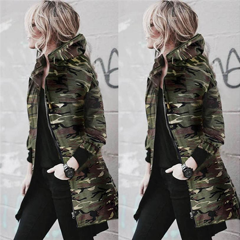 Autumn Winter Womens Hooded Long Sleeve Coat Jacket Windbreaker Casual Camouflage Outwear Female Bomber jacket top Oct 20