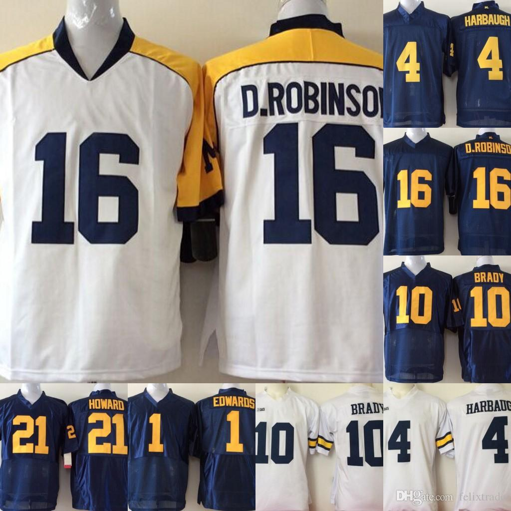 new products e0098 15a9a Michigan Wolverines College Jerseys #21 Desmond Howard 10 Tom Brady 4 Jim  Harbaugh College Jerseys Navy Blue White