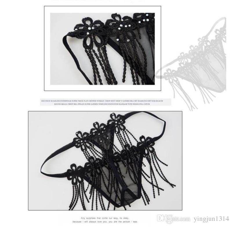 Black Women Lingerie Sexy Hot Erotic Transparent Embroidered Open Tassel Bra Thong Set Extreme Temptation Underwear Suit