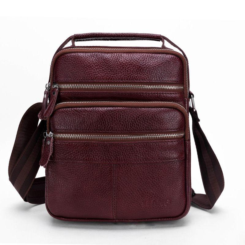 4d6835ae28 Enuine Leather Men s Handbag Casual Travel Bag Full Grain Cowhide Leather  Crossbody Shoulder Bags Messenger Bag Handle Luxury Bags Cross Body Bags  From ...