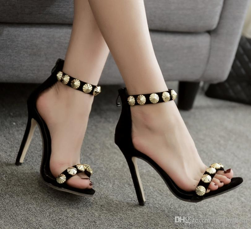 dadae5d7f98 Gold Rivets Ankle Strappy High Heels Gladiator Sandal Women Designer Shoes  Black Synthetic Suede Size 35 To 40 Wedding Shoes Wedges From Tradingbear