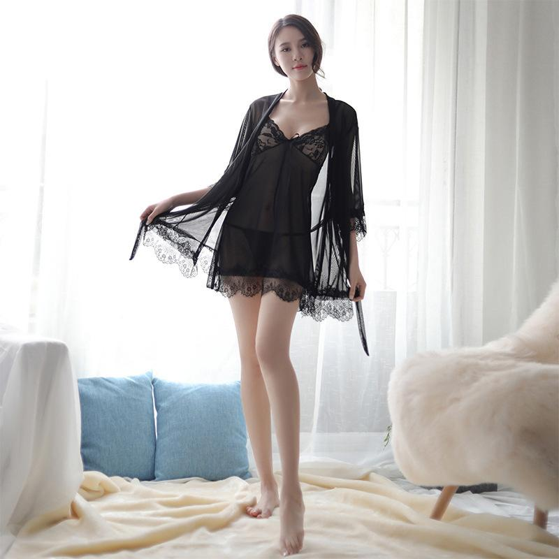 1887681dbd1 Sexy Pajamas Seduction Adult Taste Underwear Thin Money Ma'am Net Yarn  Camisole Pajamas Three Piece Set 1810 A928