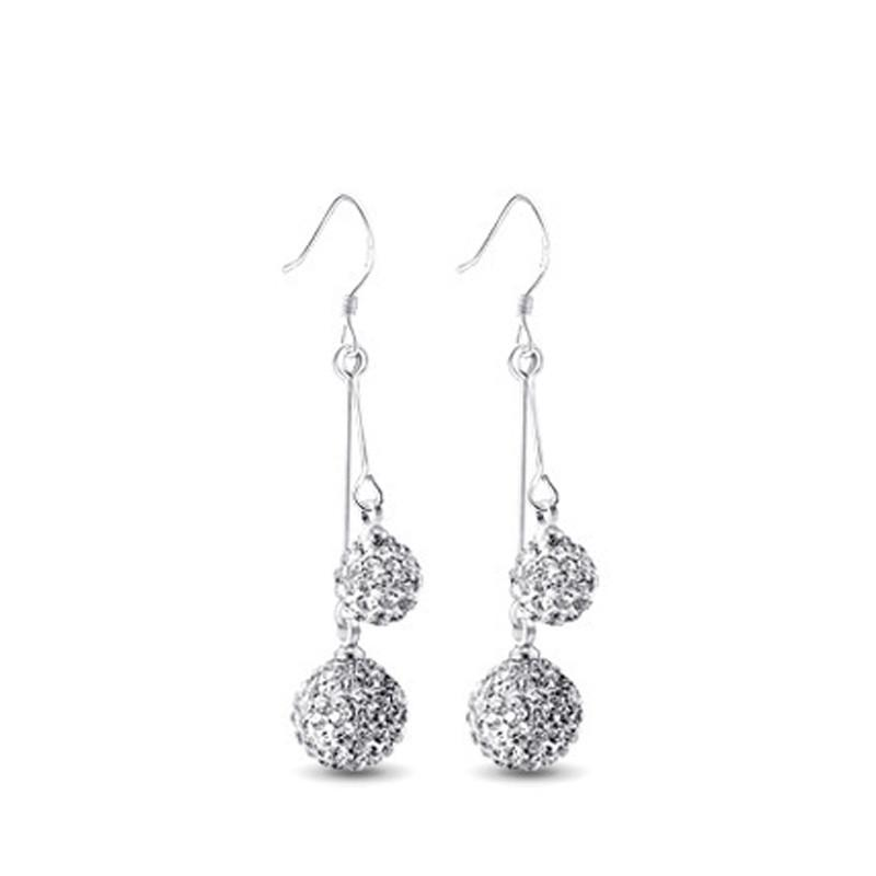 8e63127375c94 New Arrivals 925 Sterling Silver Double Crystal Ball Long Drop Earrings for  Women Fashion sterling-silver-jewelry Pendientes