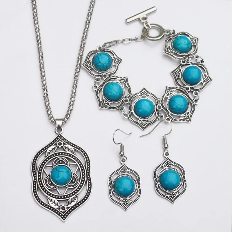 High quality blue/green turquoise Ethnic style retro Jewelry Earring Necklace Bracelet suit for women
