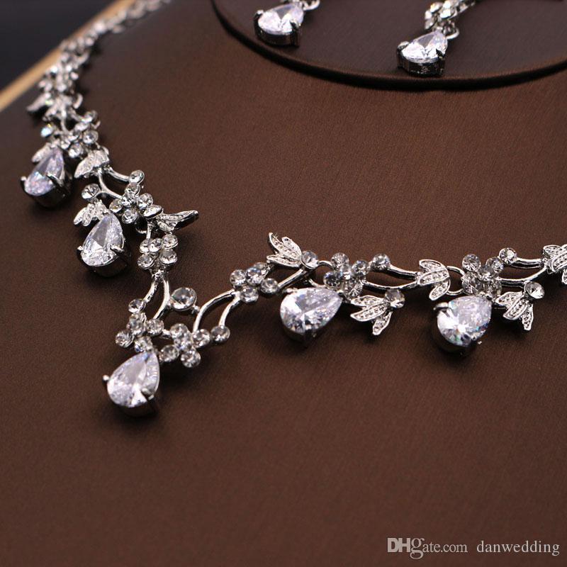 Красоты 2 Шт Ожерелье Серьги Свадьбы Свадебные Ювелирные Изделия Ожерелье J612002