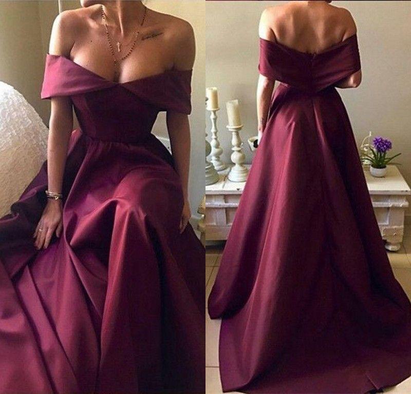 Elegant Burgundy Long Evening Dresses Off Shoulder Cap Sleeve Organza A Line Floor Length Evening Gowns Formal Women Special Occasion Dress