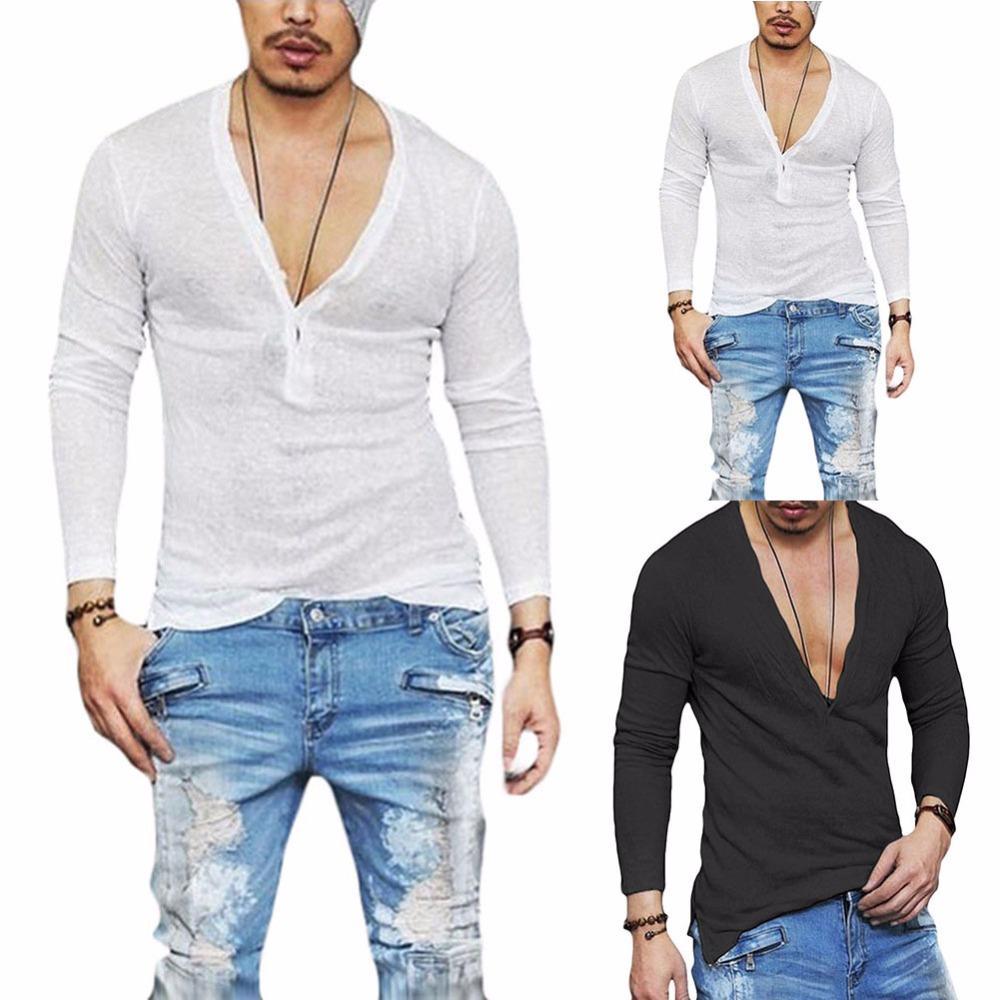 9310beee 2018 New design Loose deep V neck men t shirt Casual men fashion t-shirt  Slim Fit Skinny Tshirt Male Stylish Streetwear Tops Tee