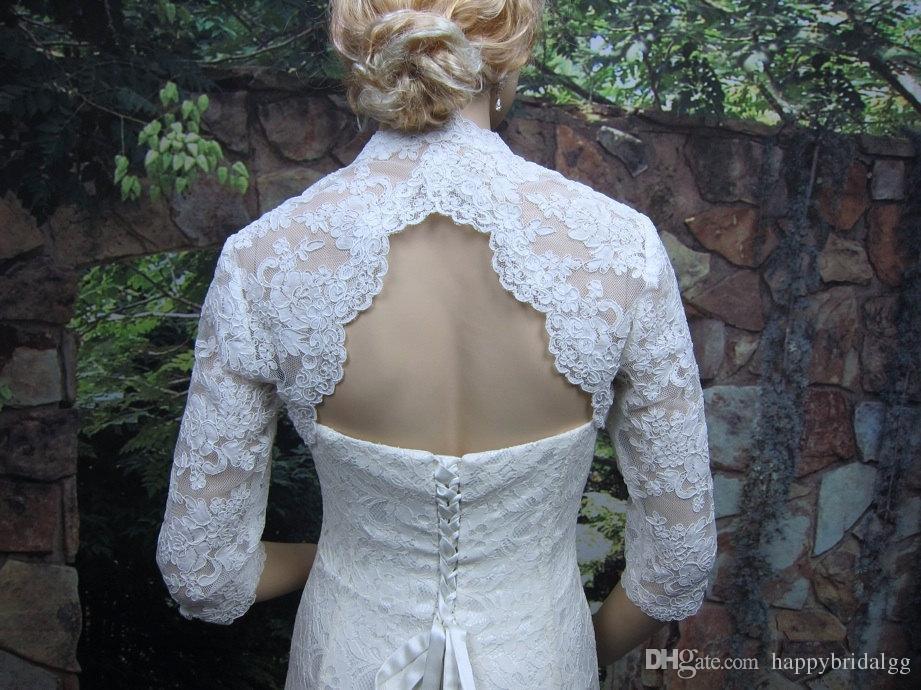 High Quality Long Sleeves Wedding Bolero Jacket Lace Ivory V-Neck Custom Made Sheer Wedding Wraps Shrugs Buttons Back Bridal Stole