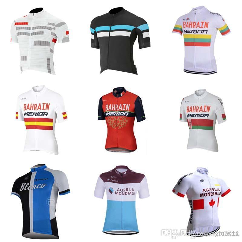 2018 Tour De France Men Cycling AG2R Bahrain BLANCO CAPO New Team Jersey  Quick Dry Bicycle Bike Wear Clothing E0501 AG2R Bahrain BLANCO Cycling  Jersey Ropa ... 2ff982b36