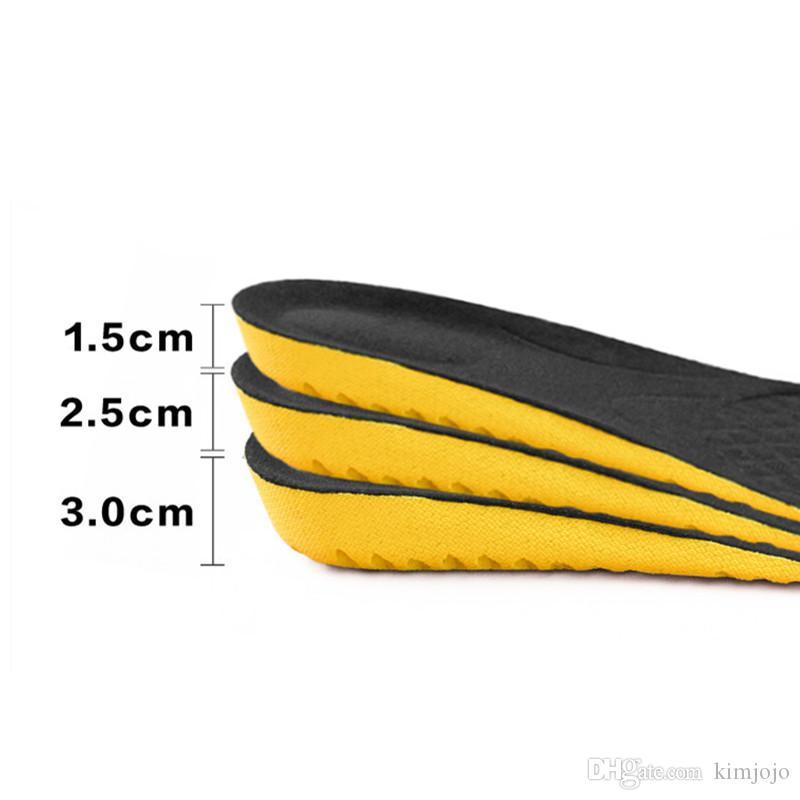 1 çift Siyah ve Gri Yükseklik Artış Unisex Astarı PVC Anti-Kaygan Ayakkabı Tabanlık Nefes Spor Ayakkabı Pad