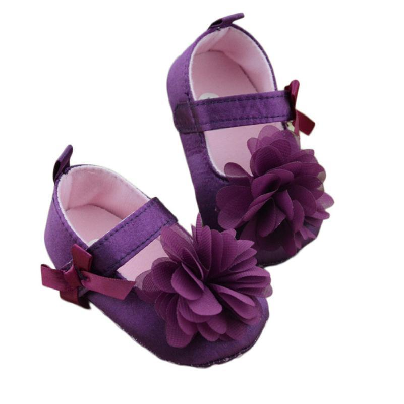 2e5e39f4f9c04 Baby Girls Shoes Infant Toddler Soft Sole Purple Flower Kid Girls Baby Crib  Soft Shoes Prewalker for 0-18 Months 18Sep29