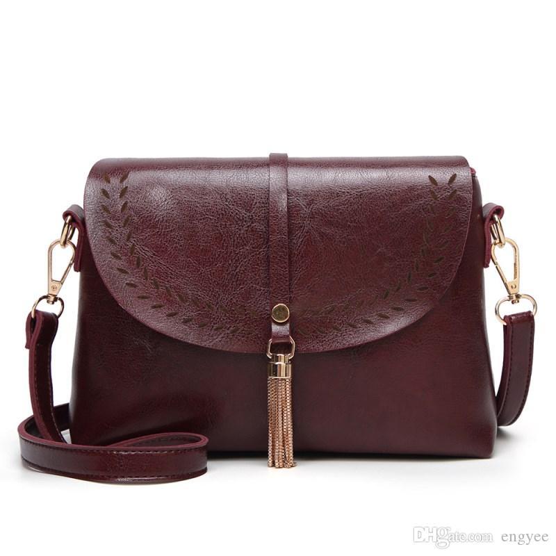 86a94925a2 Shell Women Designer Bag Vintage Leather Handbags For Girls Trendy Tassel Shoulder  Bag Famale Messenger Mini Sac A Main Ladies Bag Messenger Bag Women Small  ...