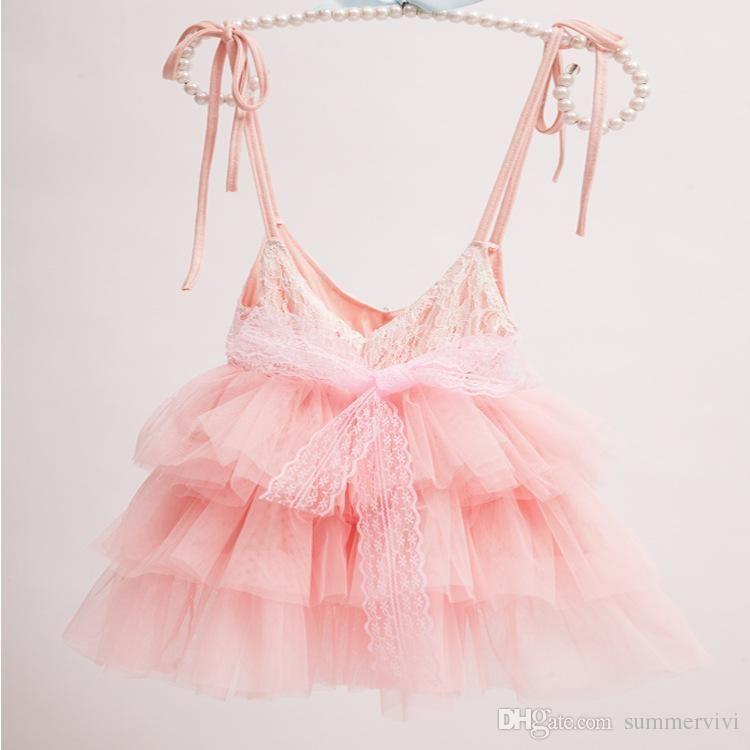 Tjejer prinsessan klänningar barn rhinestone bälte spets suspeder klänning barn tulle tutu tårta kläder a8690