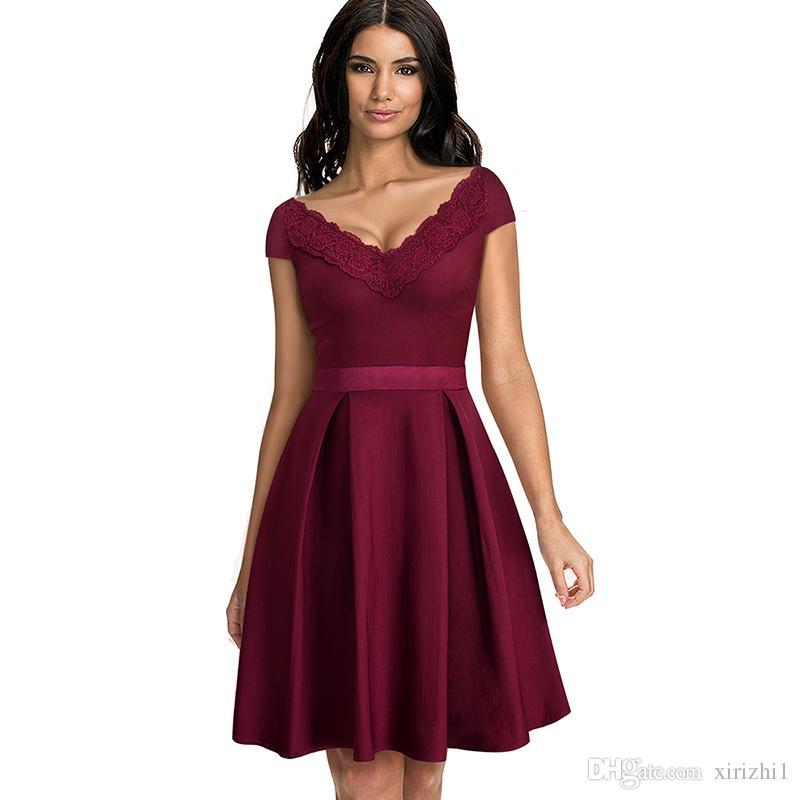c482ccf03e Compre Vestidos De Encaje Rojos Elegantes Vestido De Fiesta Formal De Manga  Corta Vestido Largo Con Cuello En V Profundo Mujeres Delgadas Delgadas Azul  ...