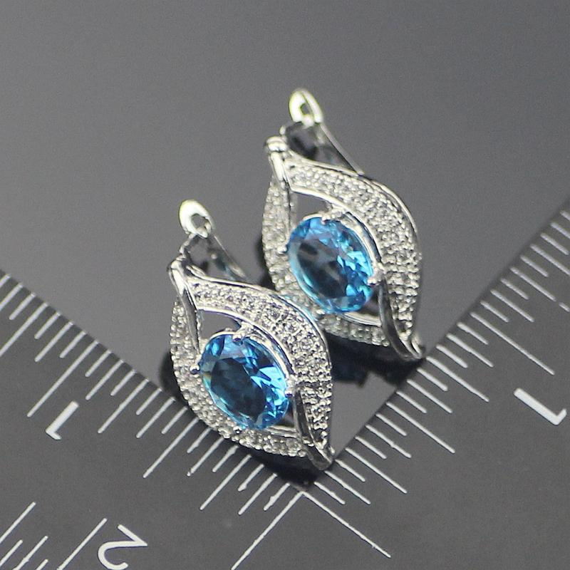 925 Sterling Silber Schmuck Sets natürliche blaue Strass Ohrringe / Anhänger / Halskette / Ringe für Frauen