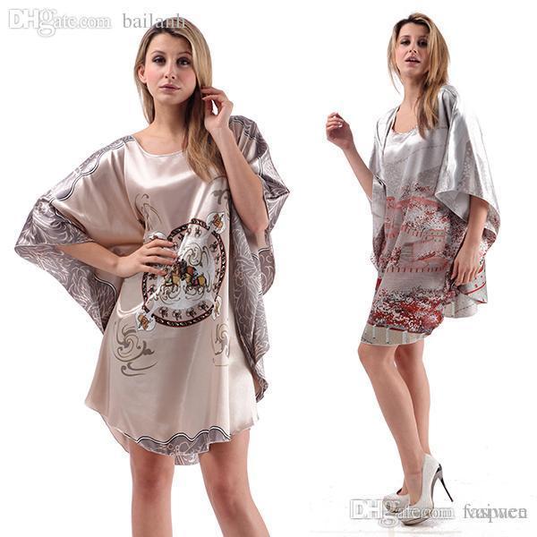 2019 Wholesale Women Sleepwear Silk Blend Robe Wrap Dress Nightgown  Nightwear Bath Robes Dress Japanese Kimono   Drop Shipping From Vaiwen f8135bcc2