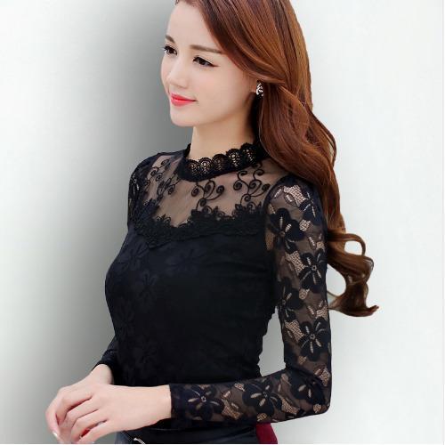 80c14882cc4be Compre S 5XL Blusa De Encaje 2019 Blusas Para Mujer Camisas Elegante Negro  Blanco Crochet Blusa De Manga Larga Camisa Chemise Femme Tops Para Mujer A   27.93 ...