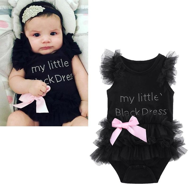 2fdfdc2dd44 2019 Fashion Newborn Kids Baby Girl Infant Lace Decoration Black Tutu  Clothes Outfits Romper Jumpsuit Bodysuit From Mobiletoys
