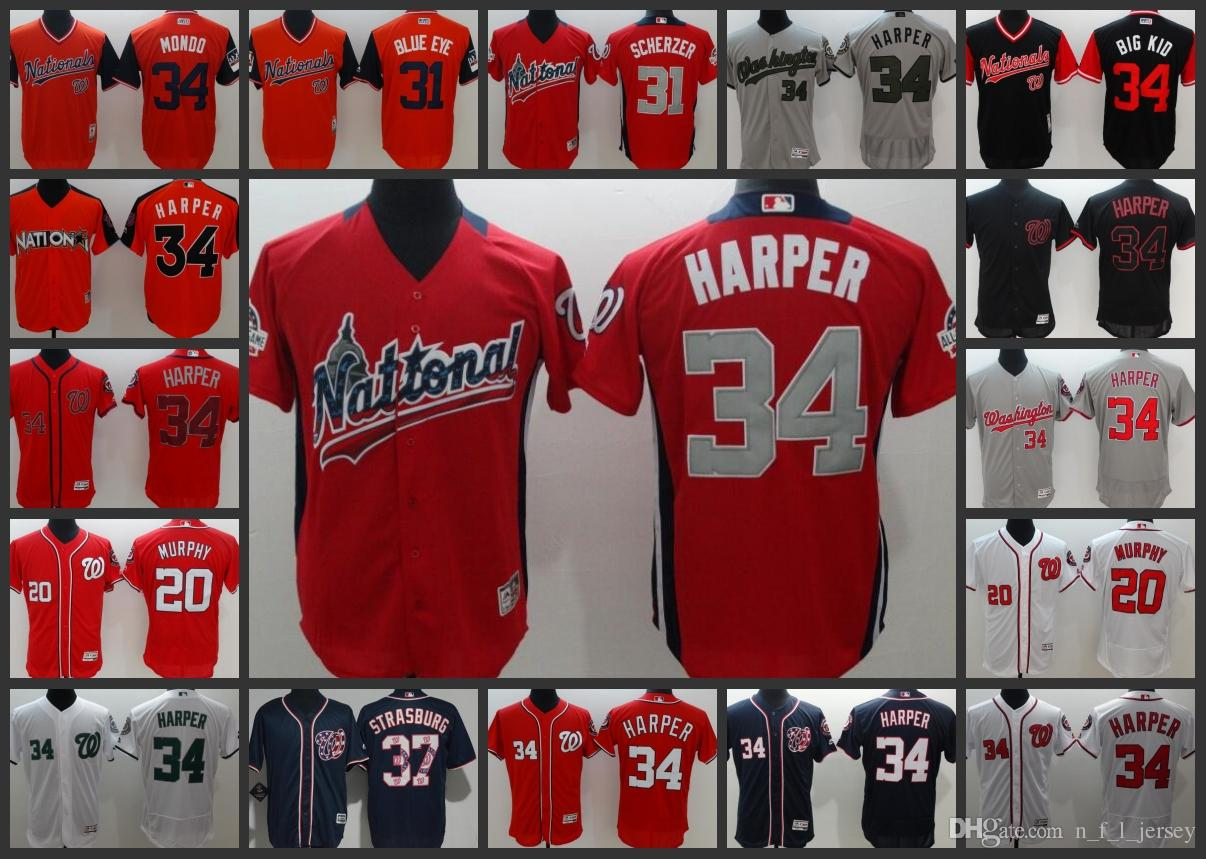 e891476ee ... order 2019 washington nationals men jerseys 34 bryce harper 31 max  scherzer 37 stephen strasburg 20