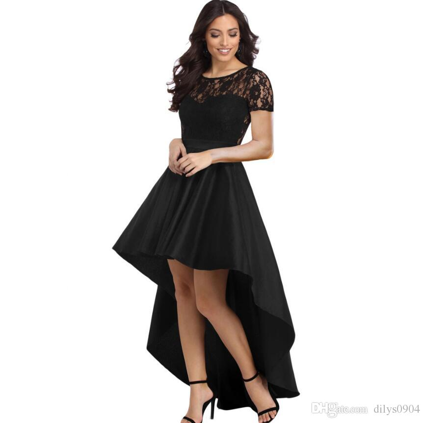 342b571c27 Compre Moda Ropa De Mujer Encaje Empalme Hueco Hacia Fuera Cuello Circular  Manga Corta Cintura Alta Vestido De Falda Irregular Vestidos Informales  610028 A ...