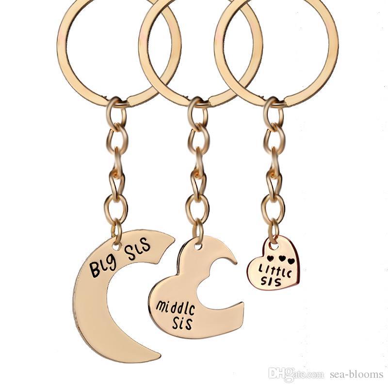 3 pçs / set Amor Encantos Do Coração Chaveiro Big Middle Little Sister Chaveiro Titular Chave Saco Moda Acessórios Moda Chaveiros Livre DHL D607S