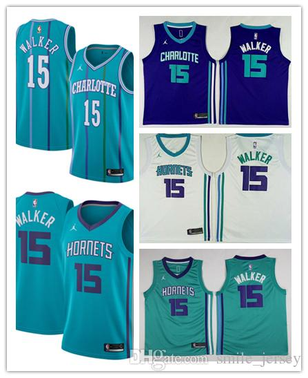 b04bb6369 ... low cost 2019 new mens 15 kemba walker charlotte hornets basketball  jerseys stitched embroidery mesh dense