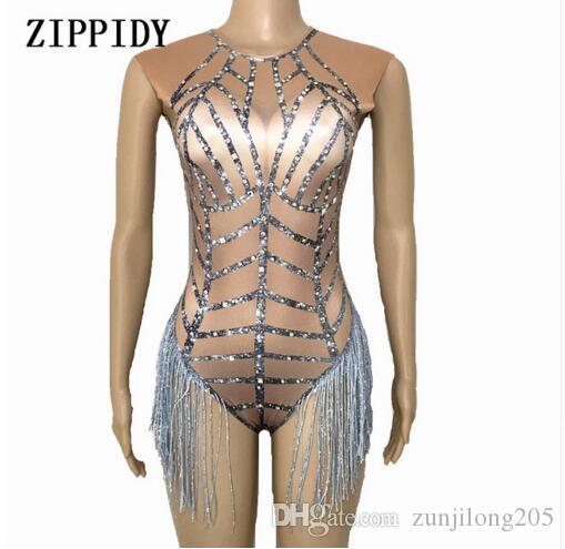 Glisten Rhinestones Silver Tassel Bodysuit Sleeveless Big Stretch ... bf3ee16a3a2b