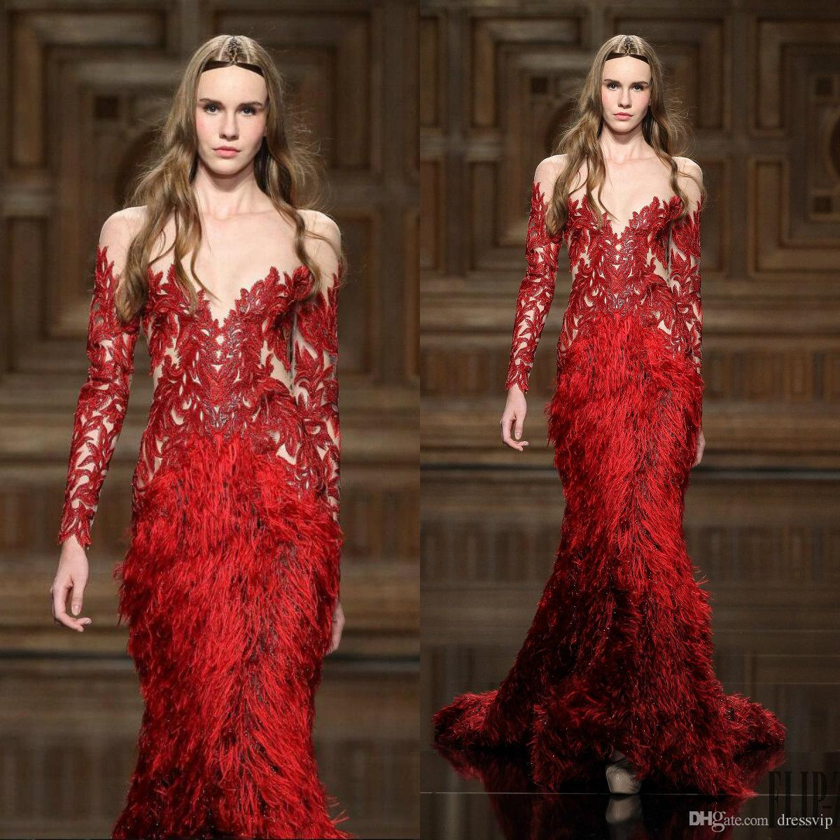 4d2f3d73a8f Zuhair Murad Evening Dresses Red Lace Appliques Feathers Beaded Jewel Neck Long  Sleeve Mermaid Prom Dress Custom Made Formal Party Gowns Maternity Evening  ...
