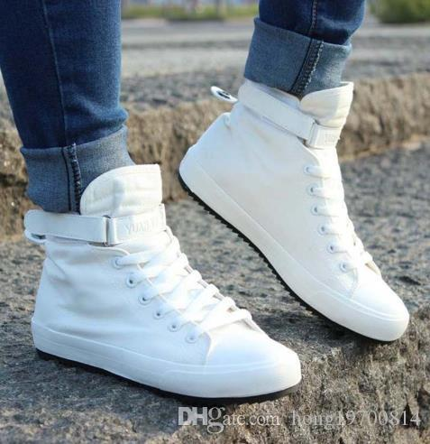 2017 New Men Casual Shoes Breathable Black High-top Lace-up Canvas Shoes Espadrilles Fashion White Men's Flats