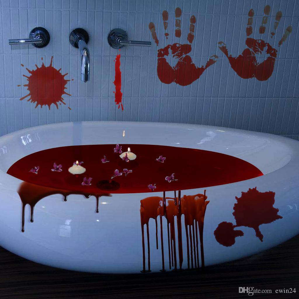 Halloween Horrible Full of Bloody Handprint Footprint Horror Window Clings  Decals Vampire Zombie Party Handprint Decals Decorations