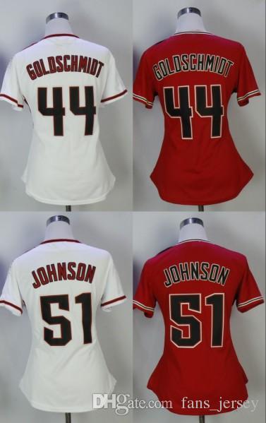 2018 Ladies Top Sales  44 Paul Goldschmidt 51 Randy Johnson Jersey Women  Retro Baseball Jerseys From Fans jersey d47f33734