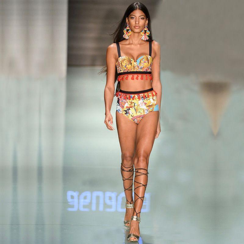 Sexy African Print push vita alta bikini Donne Vintage Yellow Aztec Fino brasiliano Fringe Costumi da bagno costume da bagno