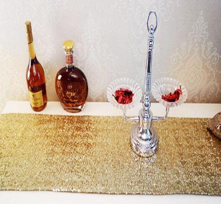 30 * 275 cm Tissu Chemin De Table Or Argent Argent Paillettes De Table Chiffon Bling Brillant Pour La Décoration De Noce Décoration Produits Fournitures
