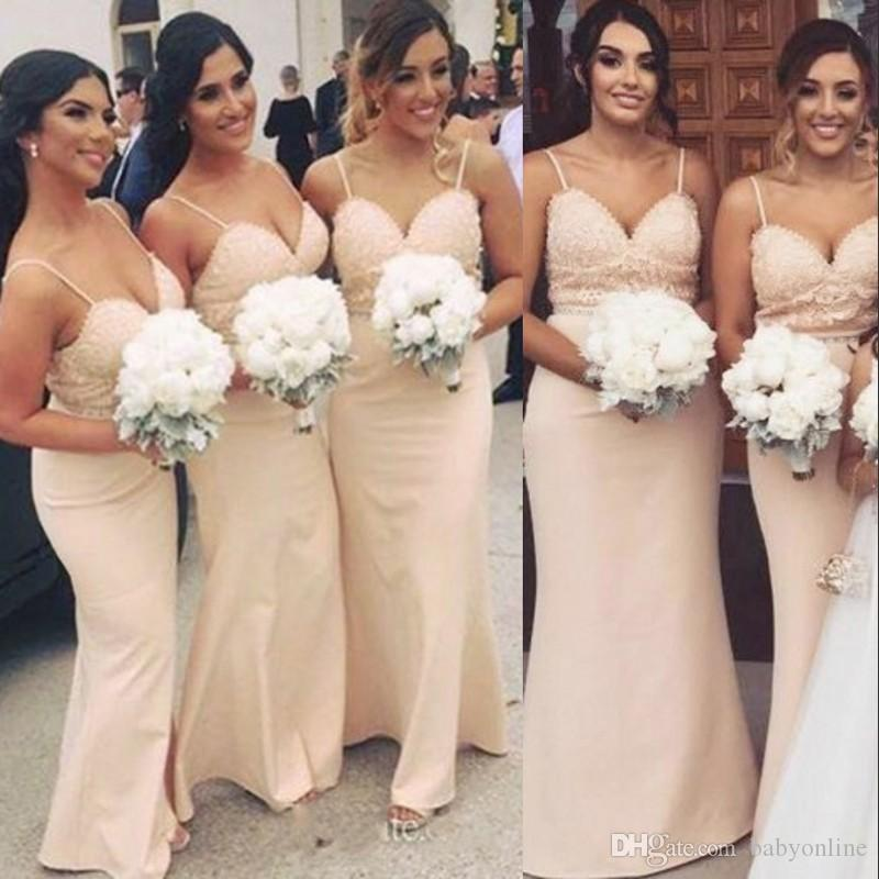9541090dd8b8 Pale Pink 2018 Bridesmaid Dresses For Summer Country Weddings 2018 New Sexy  Spaghetti Straps Beaded Sequins Maid Of Honor Gowns Maternity Bridesmaid  Dress ...