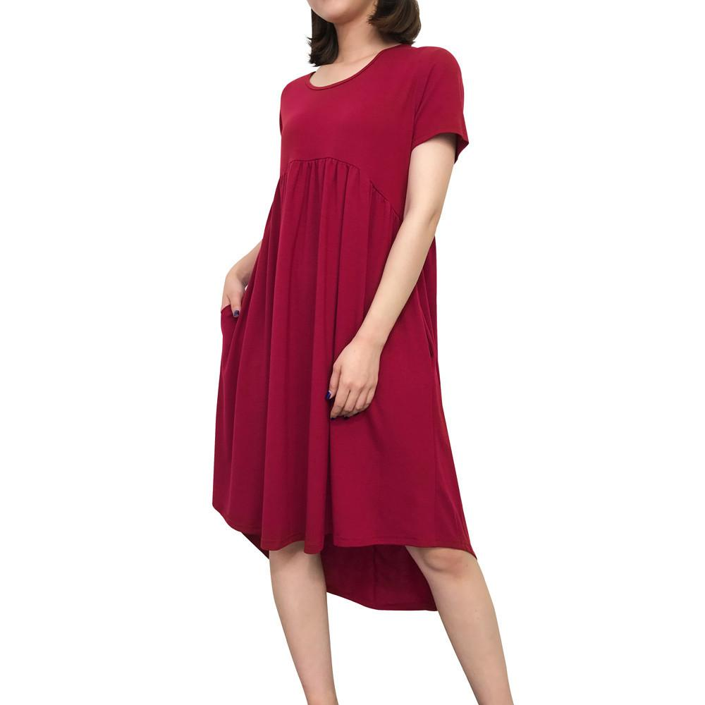 42dd27b7250c good quality Women's Round Neck Short Sleeve Dress Pockets Pleated Loose  Irregular Casual Dress Pure Casual Party Knee-Length Dress