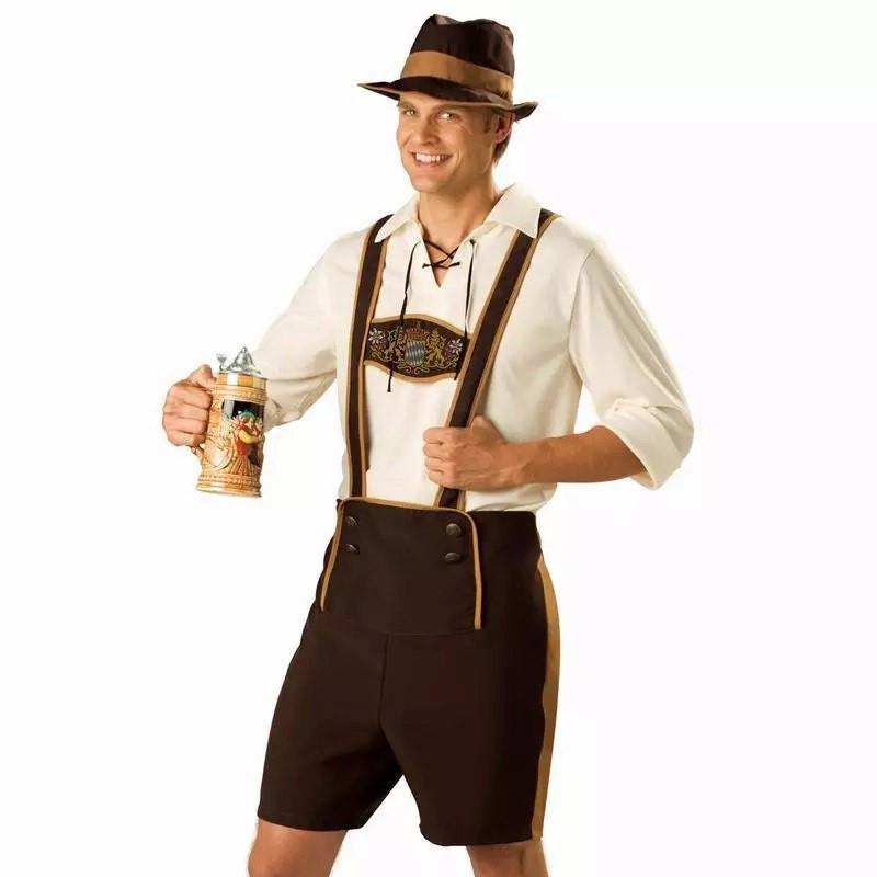 Plus Size M-XXL German Festival Beer Mens Costume Bavarian Oktoberfest Costume Adult Party Carnival Halloween