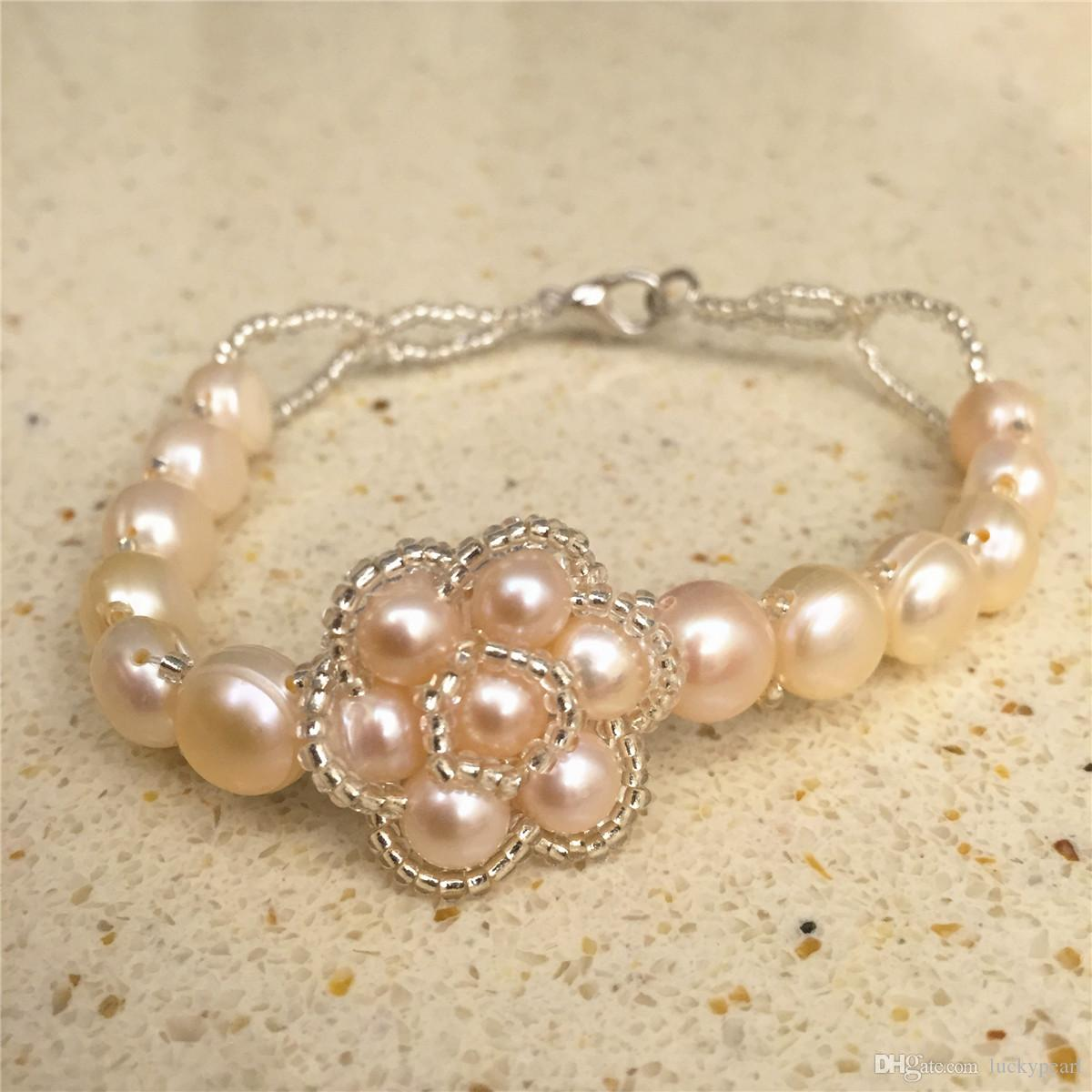 Whosale New Natural Fresh Water Rose Button Pearl crystal Fashion Style Bracelets Strands Women Jewelry Hot Gift Cheap